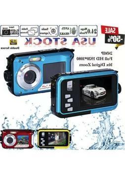 HD Double Screen Waterproof Camera 24MP 16x Digital Zoom Div