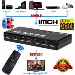 5-Port 4K 1080P HDMI Switch Switcher Sel
