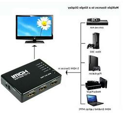5 Port 1080p HDMI Switch Switcher Selector Splitter Hub with