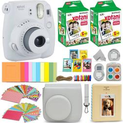 Fujifilm Instax Mini 9 Instant Camera, Smokey White+ 40 Shee