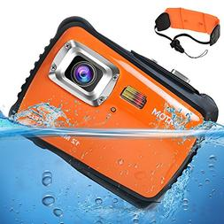 AIMTOM Kids Underwater Digital Waterproof Camera, 12MP HD Bo