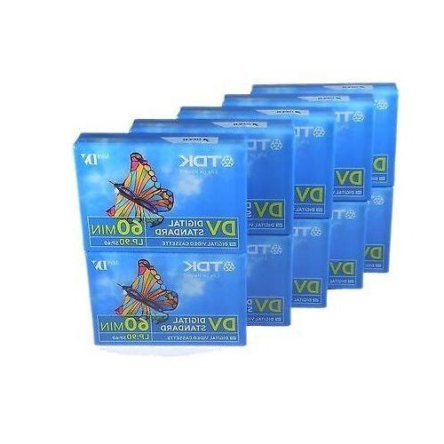 10 TDK Mini DV Premium 60 min DVC MiniDV Cassette Camcorder
