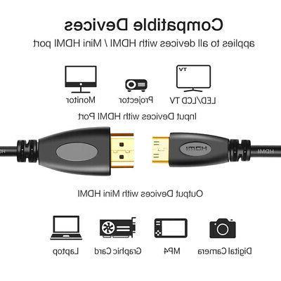 HDMI cable Mini HDMI to HDMI Camera Camcorder Black Accessor