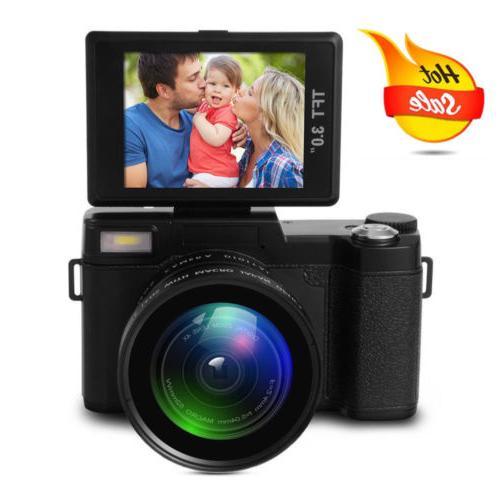 "24MP Digital Camera FHD 1080P Video Flip Screen 3.0"" LCD Zoo"