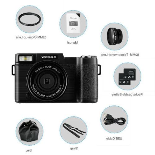 3'' TFT Camcorder 1080P 24MP 4X Zoom Flash Wide UV Lens