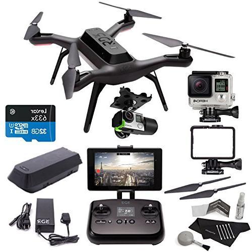 3DR Solo Drone Quadcopter + 3D Robotics Solo Gimbal + GoPro HERO4 Black  Camera + 3DR Solo Propeller Set + Lexar High Performance microSDHC 633x  32GB +