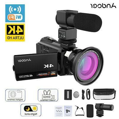 Digital Video Camera Recorder Camcorder DV WiFi 4K ULTRA HD