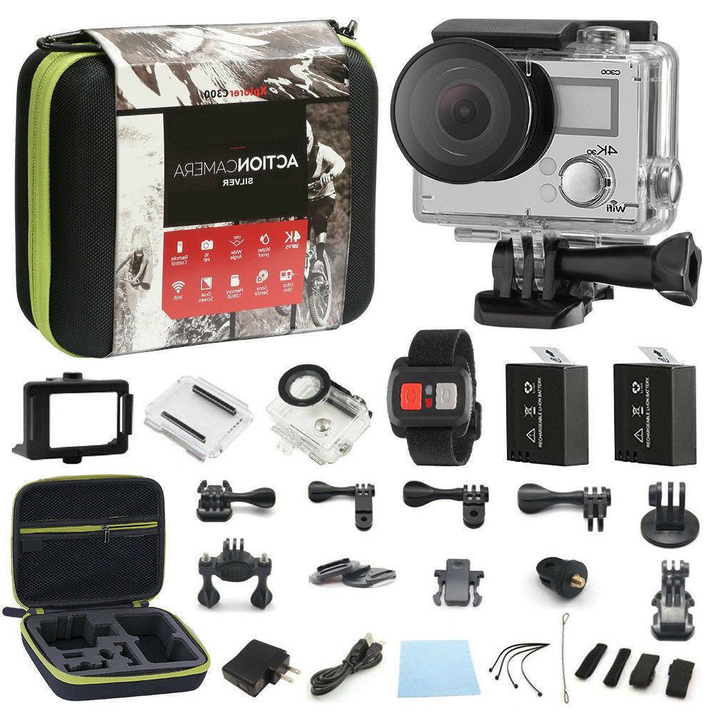 4K Screen Ultra HD 16MP <font><b>Camcorder</b></font> Sports Cam 4k+ Bundle