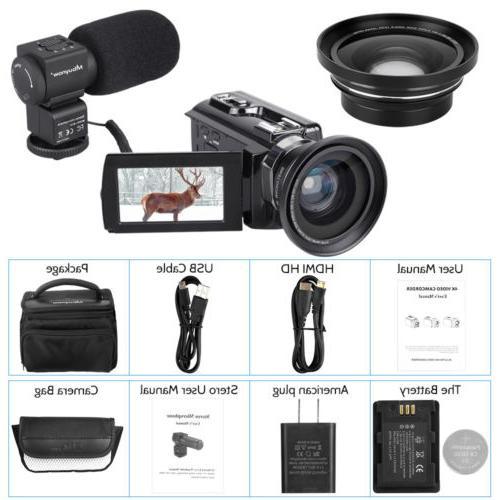 HD 4K Camcorder 16X WiFi MP Camera Vision Angle