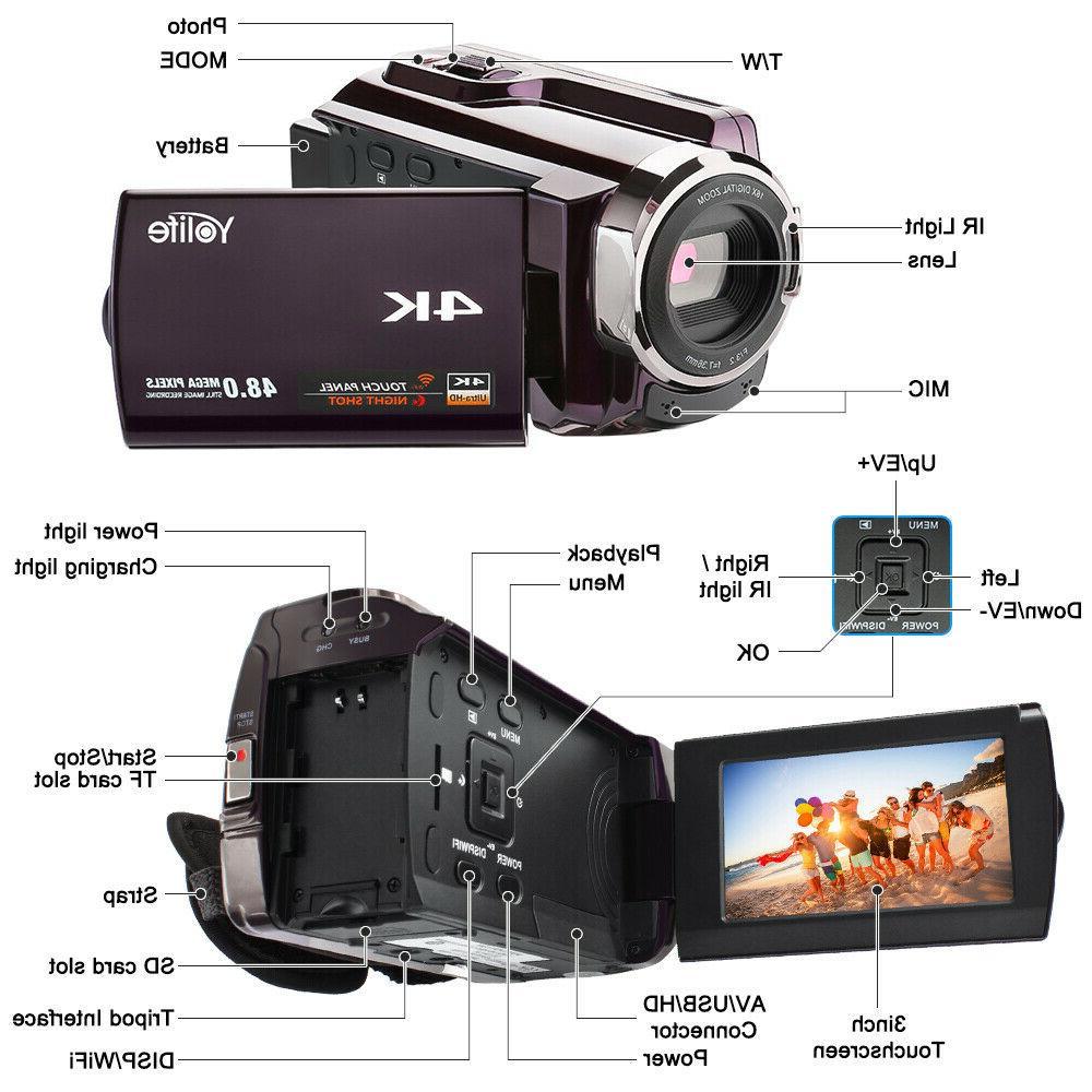 "4K HD 3.0"" 16X Recorder Digital Video Camcorder"