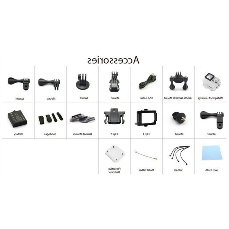 4K Ultra DV 16MP 1080p Sports Action Accessory Bundle