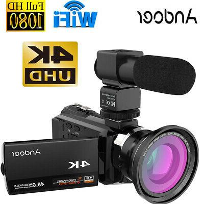3'' 4K 1080P 48MP WiFi Digital Video Camera Camcorder IR Inf