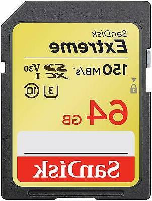 SanDisk 64GB Extreme SDXC 150MB/S 4K SD Memory Card SDSDXV6-064G