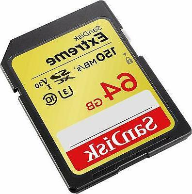SanDisk 64GB SDXC 150MB/S U3 V30 SD Class Card SDSDXV6-064G