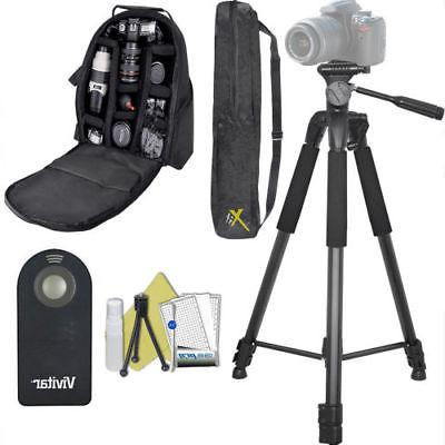 "75"" PRO TRIPOD + LARGE BACKPACK + REMOTE FOR NIKON D5600 D34"