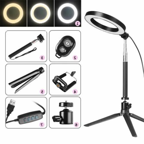 "8"" Dimmable LED Ring Light Camcorder For Camera Selfie"