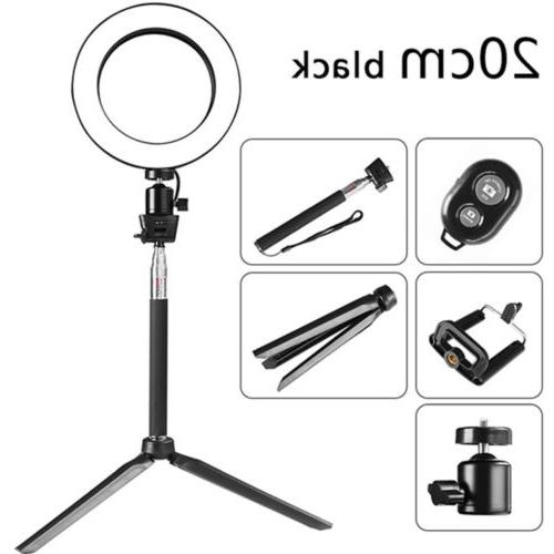 8 dimmable led ring light stand camcorder