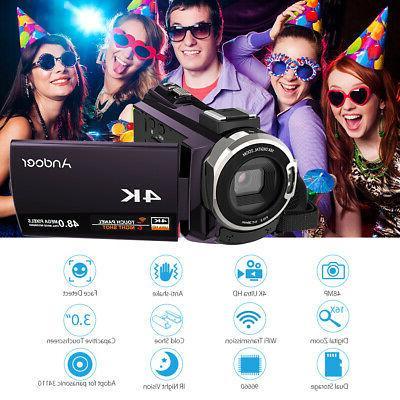 ANDOER WIFI 4K 1080P 48MP VIDEO CAMERA CAMCORDER DV #USA