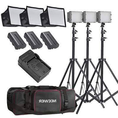 Neewer 3x 160 LED light kit Dimmable Panel Digital Camera/Ca