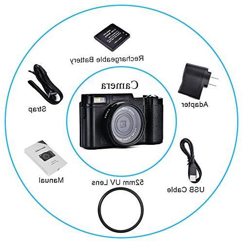 SEREE HD Digital Camera Camcorder Full HD 24.0 Zoom 3 Inch LCD