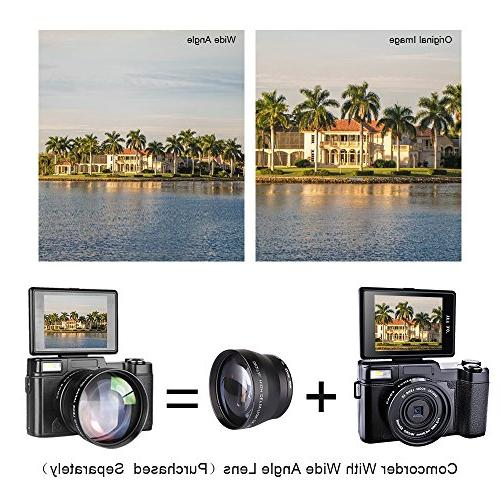 SEREE HD Camcorder 24.0 Megapixels 4x Zoom Screen Flashlight