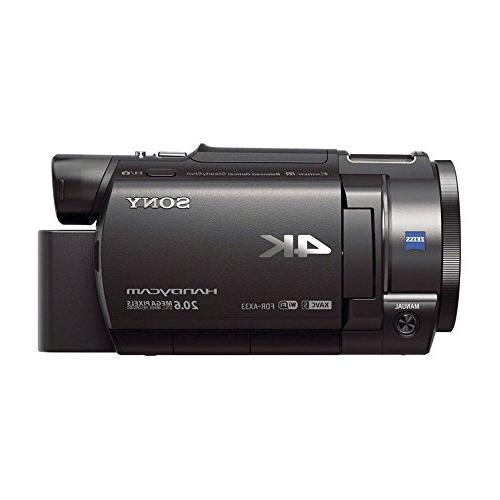 Sony AX33 4K HD Recording Handycam Camcorder Bundle With 2 Spare Memory Full Tripod, Deluxe Charger &