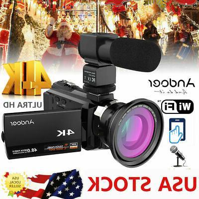 WIFI 4K HD 48MP NIGHT SIGHT DIGITAL VIDEO CAMCORDER CAMERA D