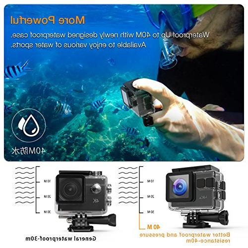APEMAN Camera 20MP WiFi Underwater 40M Camcorder 170 EIS Sensor, Upgraded Batteries, Portable Carrying Bag and 24 Mounting