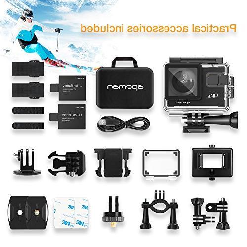 APEMAN Action Camera 20MP Underwater Waterproof Camcorder Degree EIS Advanced Upgraded Bag 24