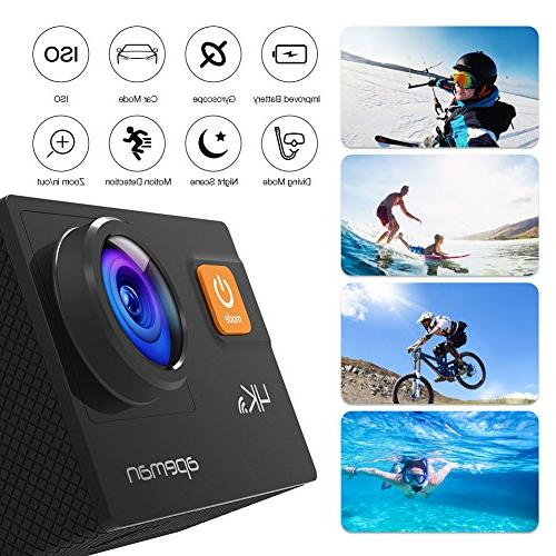 APEMAN Action 20MP WiFi HD Underwater Camcorder EIS Upgraded Batteries, Bag and 24 Mounting