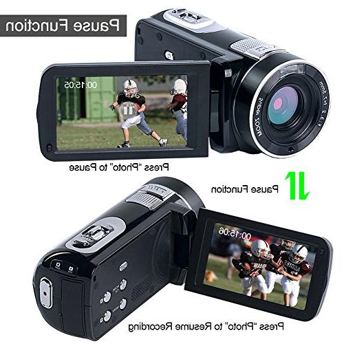 "SEREE Video camera HD 1080p 24.0MP Camcorder 3.0"" LCD Rotation Screen Digital with Remote"