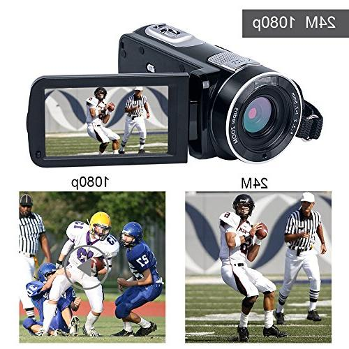 "SEREE Video HD 1080p Camcorder 3.0"" Rotation Digital with Remote Control"