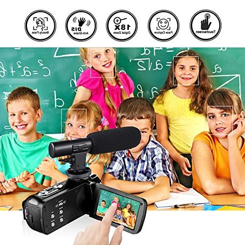 Full HD Camcorder Digital 30FPS Camera for Youtube Camera with Microphone and Remoter