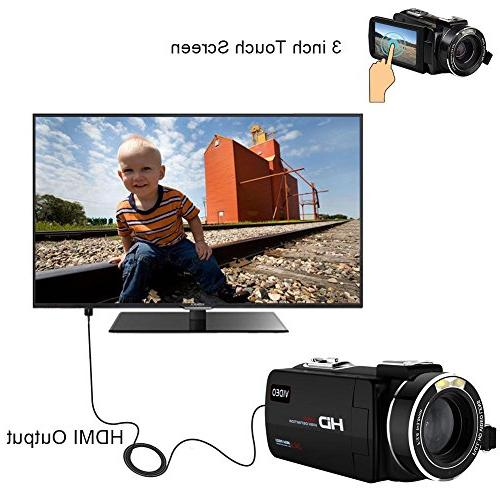 "Camcorder 30fps Shotgun Microphone WiFi 3"" Touch Screen Digital"