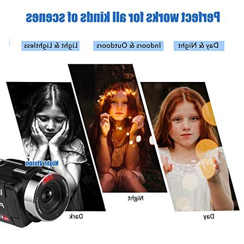 Camcorder Digital Camera, WiFi Vlog with IR Vision 30FPS LCD Screen Vlogging Camera YouTube Control