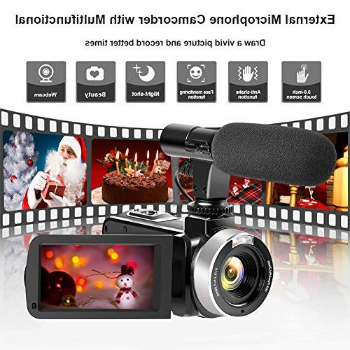 Camcorder Digital WiFi Vlog with Microphone Vision Full 30FPS LCD Screen Vlogging for YouTube Remote