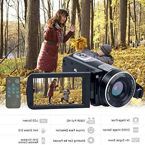 Camcorder IR Night Vision Digital Camera 24.0Mega Pixels 18X Zoom for Pause
