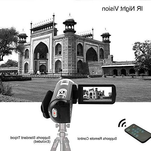 Camcorder Camera with IR Digital Video Camera Pixels 18X for Selfie Pause