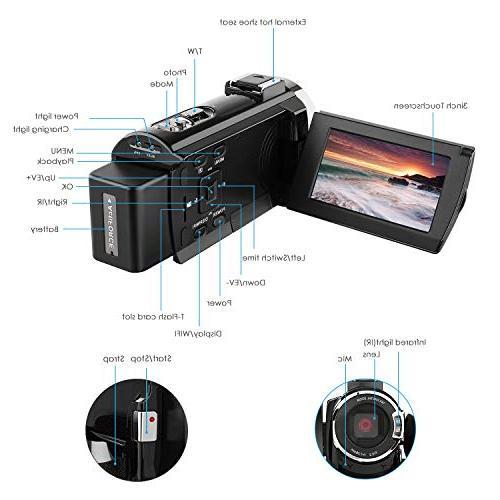 4k Camcorder,Regemoudal Camera Camcorder 3 Inch Video 16X