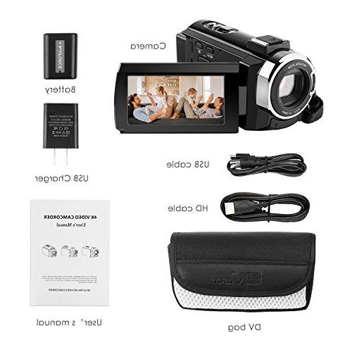 4k 1080P Video Camera 3 Inch Video Camcorder,Capactive IR 16X Digital