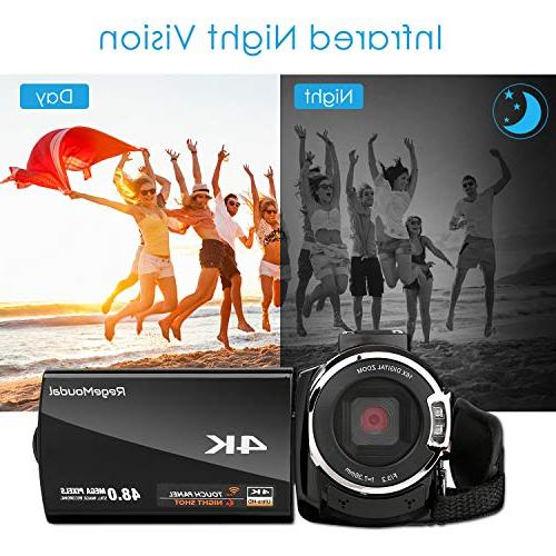 4k Camcorder,Regemoudal 1080P Camera 3 WiFi Digital Video Camera Camcorder,Capactive IR Infrared Night 16X Zoom