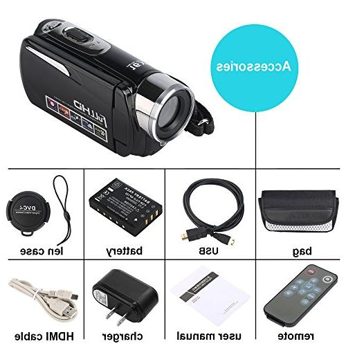 """Camcorder,Bekhic Night Handy 24MP Digital Zoom Video Camera with 3.0"""" 270 Touchscreen"""