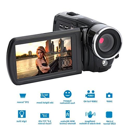 """Camcorder,Bekhic Infrared Handy HD 1080P 24MP 16X Digital Zoom Video with 3.0"""" Touchscreen"""