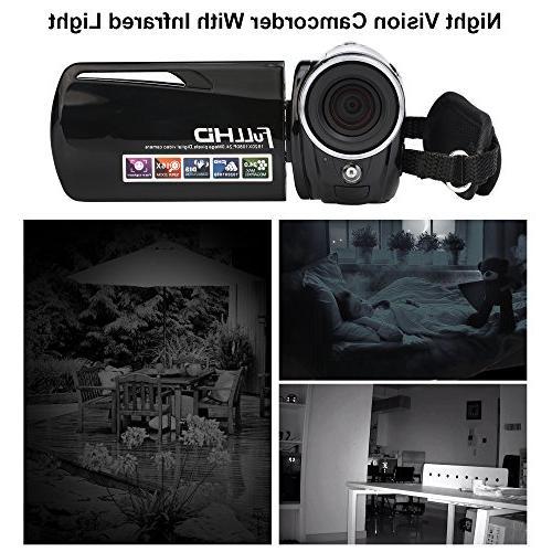 "Camcorder,Bekhic Night Vision Handy Camera HD 1080P 24MP 16X Video Camera 3.0"" LCD 270 Touchscreen"