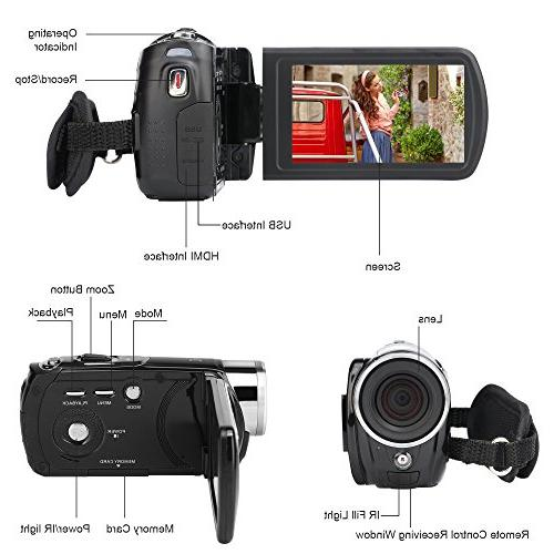 """Camcorder,Bekhic Handy Camera 24MP Video DV with 3.0"""" Touchscreen"""