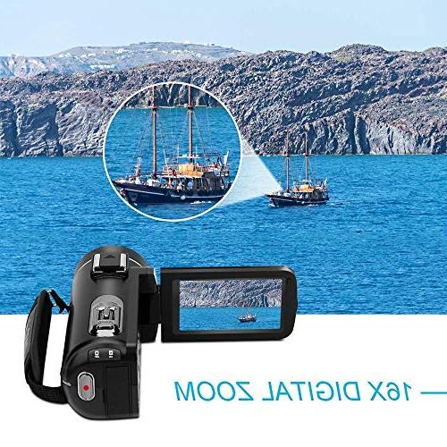 Video Camcorder, Camera Camcorder 1080P 3.0 LCD Touch Screen Night Camcorders Vlogging Camera with Microphone and Control