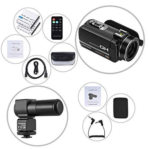 Video Camcorder, Camera Camcorder 1080P 3.0 Screen Camcorders with Microphone Remote