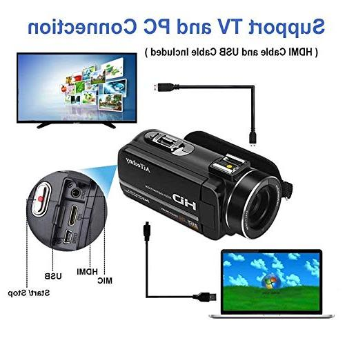 Video Camera Camcorder Full 1080P 24MP 3.0 LCD Screen Vision Camcorders with Control