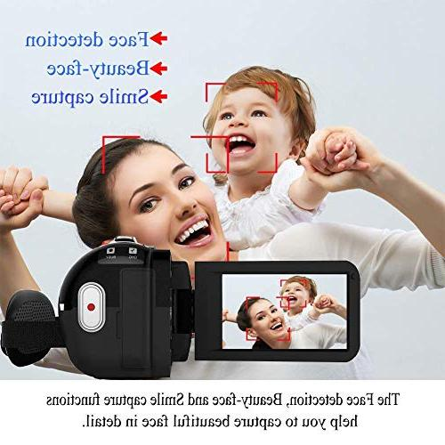 Video Camera 1080P 3.0 Inch Screen Night Camcorders YouTube with Microphone Control