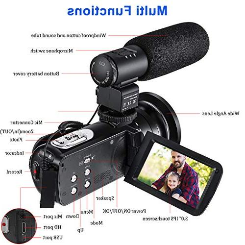 Video Camera Camcorder for YouTube 1080P Vlogging Digital 24.0MP Night 16X Digital with Microphone Wide